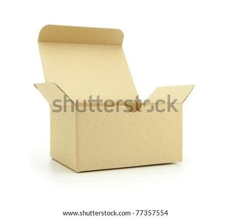 Cardboard box with flip open lid, lid open, isolated on white. - stock photo