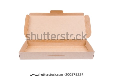 Cardboard box with lid open , isolate on white background - stock photo