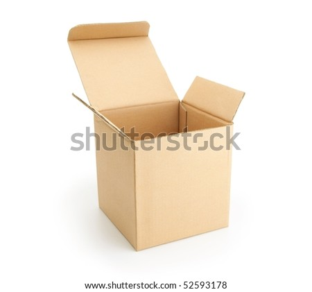 Cardboard box with lid open, isolated on white. - stock photo