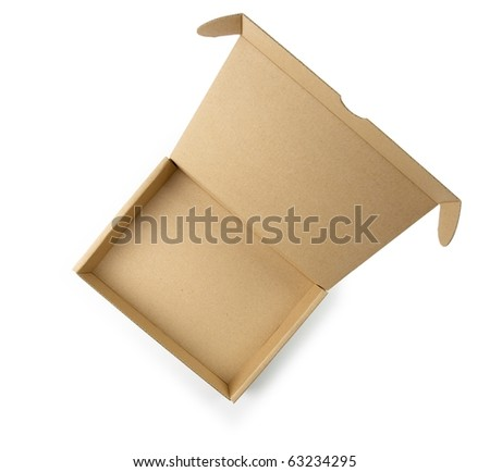 Cardboard box with lid open shot from above. Type of box often used for computer hardware related items. - stock photo