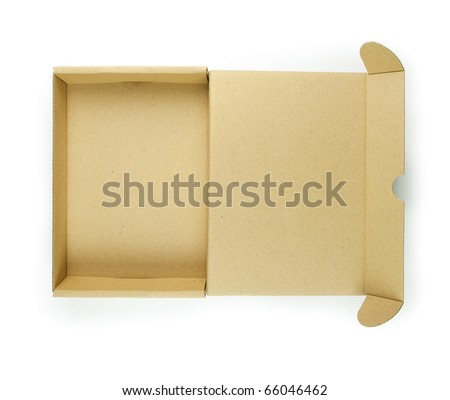 Cardboard box with lid open shot from above. Type of box often used for computer hardware related items such as hard drives and PCI cards. - stock photo
