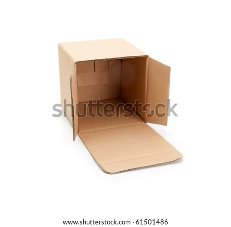Cardboard box with open lid , isolated on white. - stock photo
