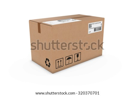 Cardboard Box with Shipping Labels Isolated on White Background - stock photo