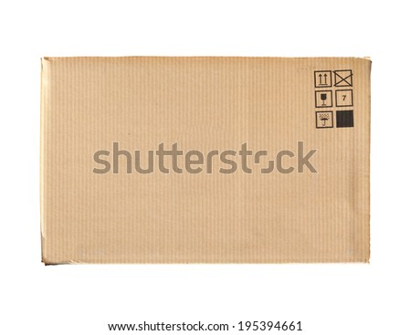 Cardboard box with standard signs isolated on white background - stock photo