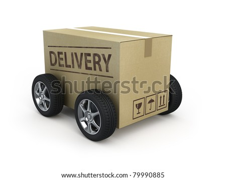 Cardboard box with wheels - Delivery concept - stock photo