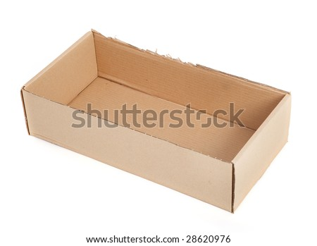 cardboard box without a lid on white - stock photo