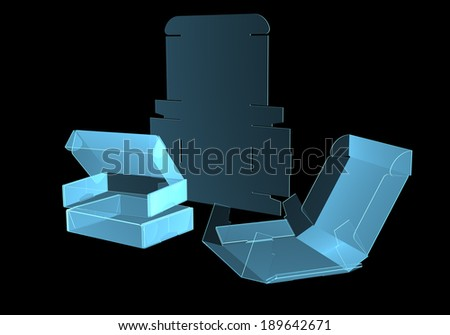 Cardboard box x-ray blue transparent isolated on black