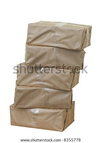 Cardboard boxes againt white background