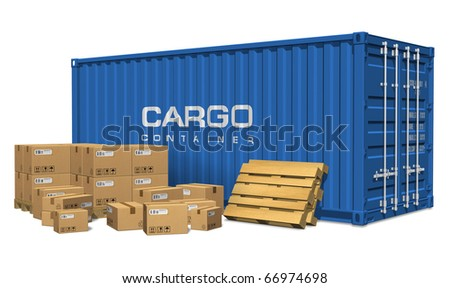 Cardboard boxes and cargo container - stock photo