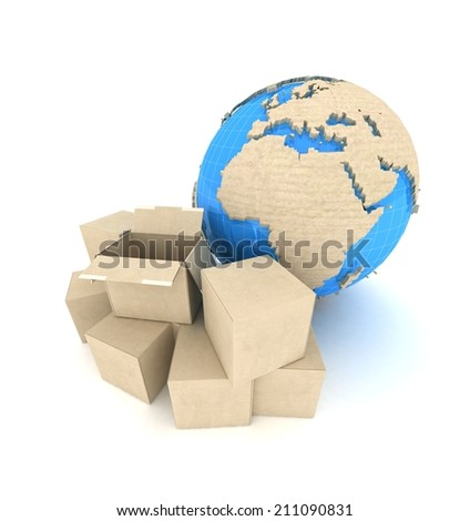 Cardboard boxes and Earth globe