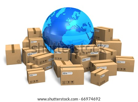 Cardboard boxes and Earth globe - stock photo