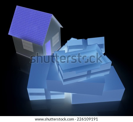 Cardboard boxes and house on a black background