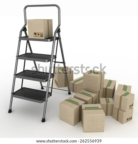 Cardboard boxes and ladder on white background - stock photo