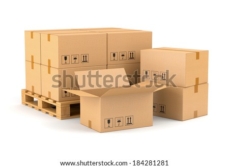 Cardboard boxes and wooden pallet isolated on white background. Warehouse, shipping, cargo and delivery concept. - stock photo