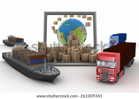 Cardboard boxes around the globe on a laptop screen, two cargo ships and two trucks. Concept of online goods orders worldwide - stock photo