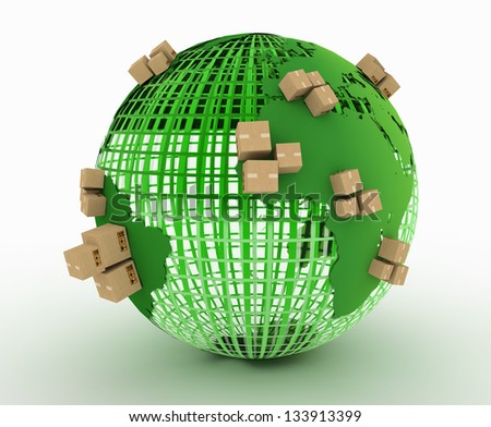 Cardboard boxes around the world. Global shipment concept - stock photo