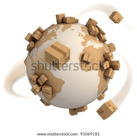 cardboard boxes around the world - global shipment 3d concept - stock photo