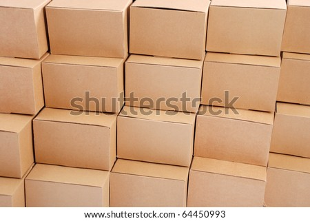 Cardboard boxes background on brown color - stock photo