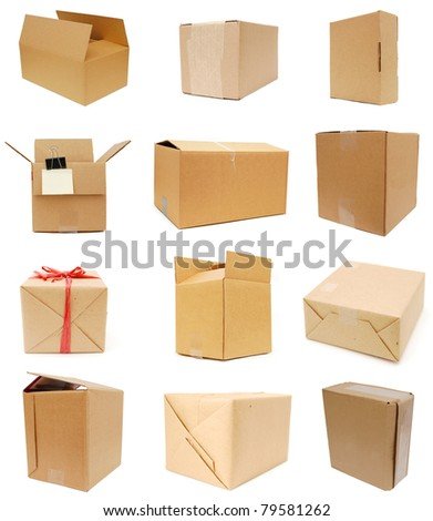 Cardboard boxes collection - stock photo