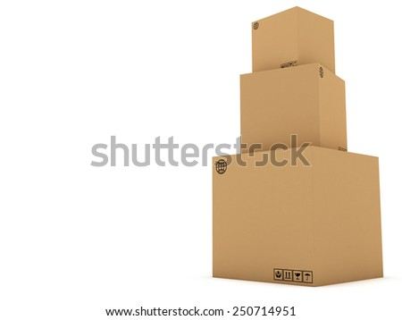 cardboard boxes 3d illustration, isolated on white background - stock photo