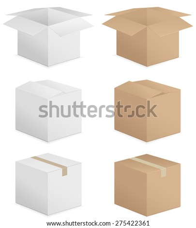 cardboard boxes illustration. - stock photo