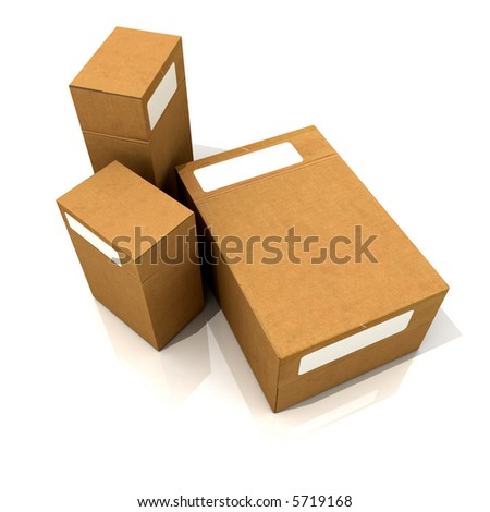 Cardboard boxes in different sizes - stock photo