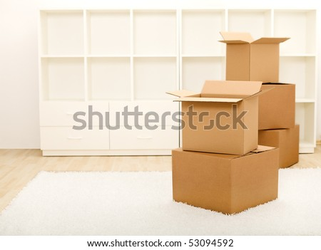 Cardboard boxes in front of empty shelves in a room - moving concept