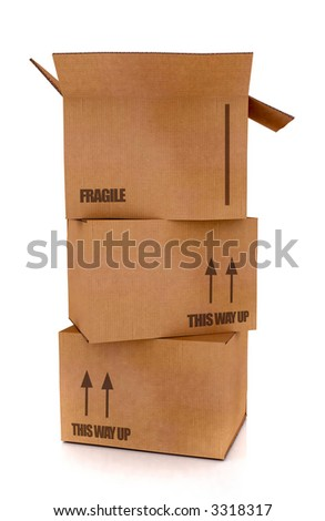 cardboard boxes in high detail - isolated over a white background - stock photo