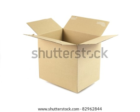 Cardboard boxes isolated against a white background