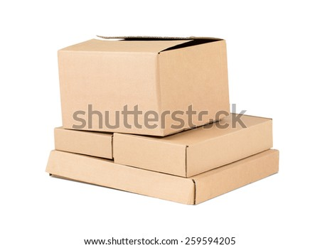 Cardboard boxes. Isolated on white
