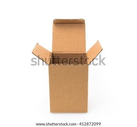 Cardboard boxes isolated on white background - stock photo