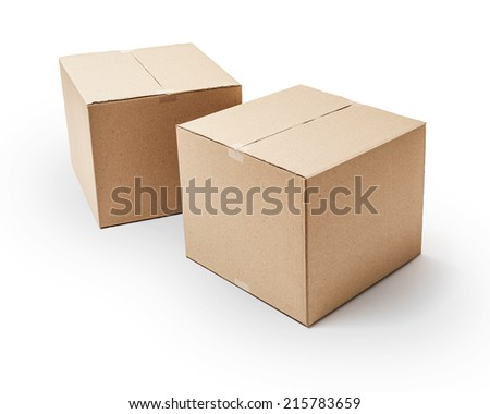 Cardboard boxes isolated on white background -Clipping Path - stock photo