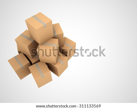 Cardboard Boxes isolated on white background, 3d