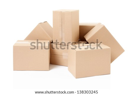 Cardboard boxes isolated on white, clipping path included - stock photo