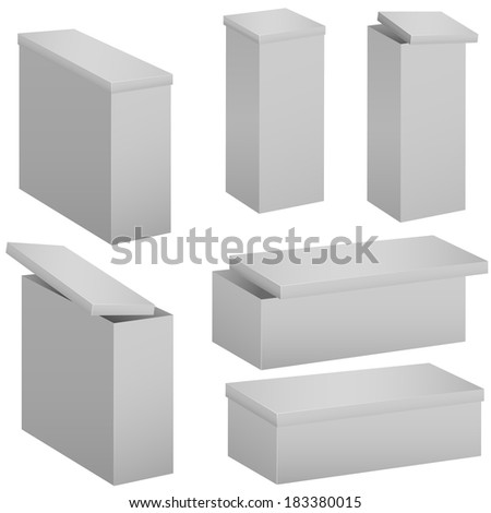 Cardboard boxes isolated on white. Raster illustration. - stock photo