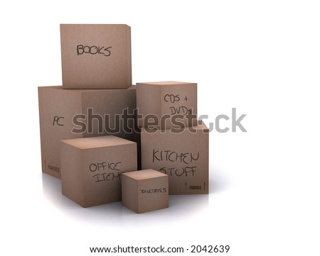 cardboard boxes - moving homes - over a white background - writing on boxes - stock photo