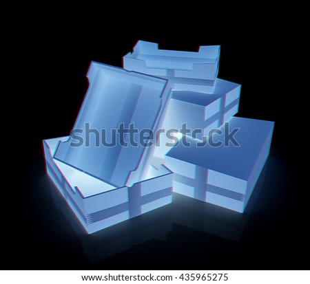 Cardboard boxes on a black background. 3D illustration. Anaglyph. View with red/cyan glasses to see in 3D. - stock photo