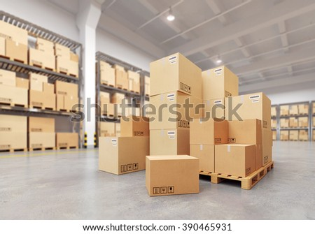 Cardboard boxes on a pallet. 3d illustration. - stock photo