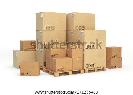 Cardboard boxes on a pallet. Isolated on white background. - stock photo