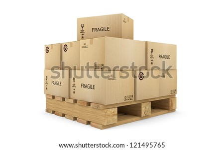 Cardboard Boxes on a pallet isolated with clipping path - stock photo