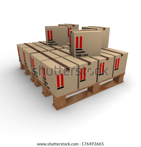 Cardboard boxes on a pallet on a white background - stock photo
