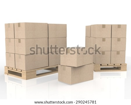 cardboard boxes on pallet  - stock photo