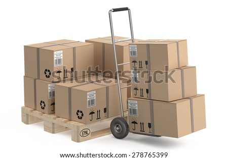 Cardboard boxes on pallet and hand truck - stock photo