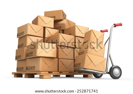 Cardboard boxes on pallet. Cargo, delivery and transportation logistics storage. 3D isolated - stock photo