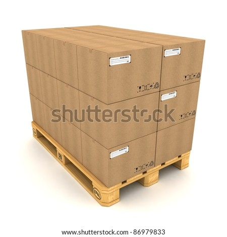 Cardboard boxes on pallet on white background - stock photo