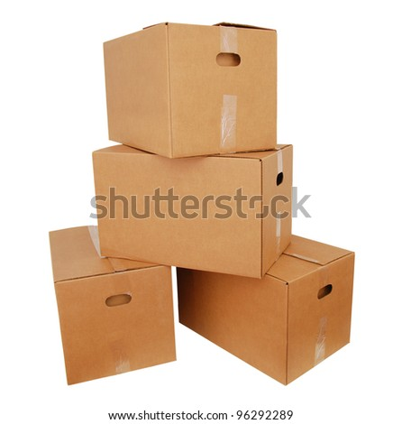 Cardboard boxes on stacking - stock photo
