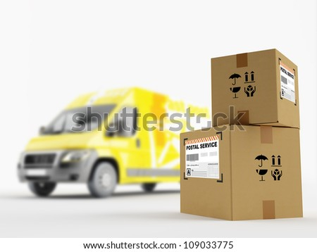 Cardboard boxes on the background of the postal service vehicle - stock photo