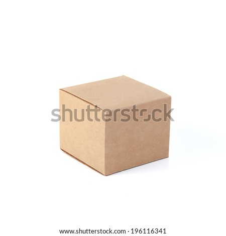 cardboard boxes on white background. - stock photo