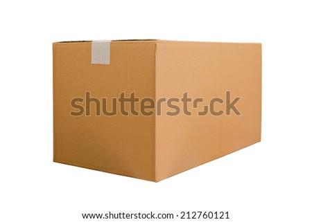 Cardboard boxes on white background - stock photo