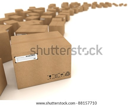 Cardboard boxes on white background - stock photo